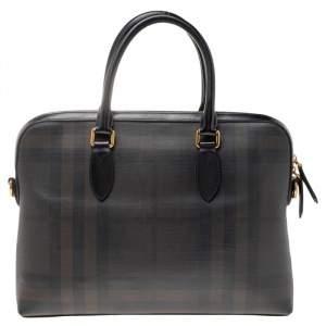 Burberry Dark Brown/Grey Smoke Check PVC and Leather Laptop Bag
