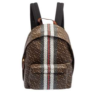 Burberry Multicolor TB-Print Coated Canvas and Leather Backpack