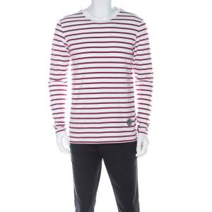 Burberry Red and White Striped Cotton Patch Detail Long Sleeve T Shirt L