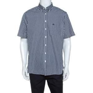 قميص بربري بريت أكمام قصيرة كاروهات مونوكروم XL