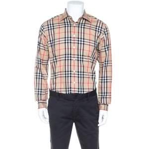 Burberry London Beige Nova Check Cotton Long Sleeve Button Front Shirt M