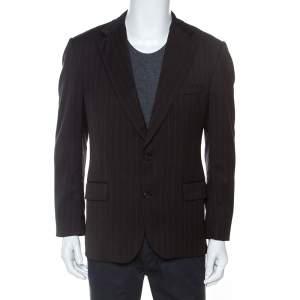 Burberry London Brown Striped Wool Tailored Kensington Blazer L