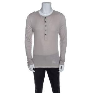 Burberry Light Beige Knit Long Sleeve Slim Fit T-Shirt XL