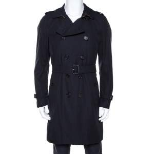 Burberry Navy Blue Cotton Kensington Mid Length Trench Coat L