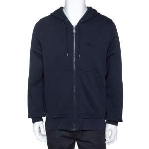 Burberry Midnight Blue Cotton Zip Front Hooded Sweatshirt L
