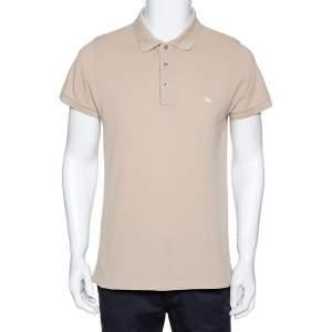 Burberry Beige Cotton Pique Short Sleeve Polo T-Shirt L
