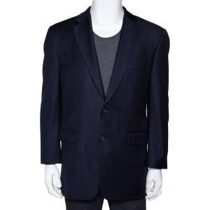 Burberry Navy Blue Checked Wool Two Buttoned Tailored Blazer M