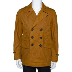 Burberry Malt Coated Cotton Folgate Double Breasted Coat L