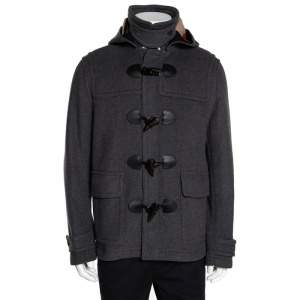 Burberry Brit Grey Wool Detachable Hood Duffle Coat L