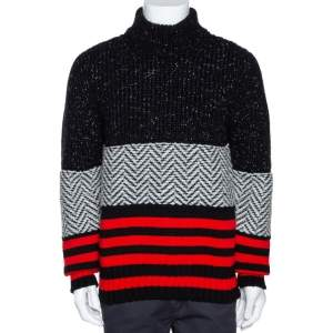 Burberry Tricolor Contrast Striped Knit Turtleneck Sweater M
