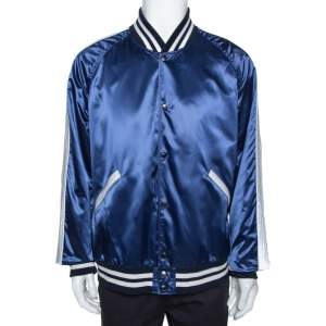 Burberry Blue Satin Varsity Bomber Jacket XXXL