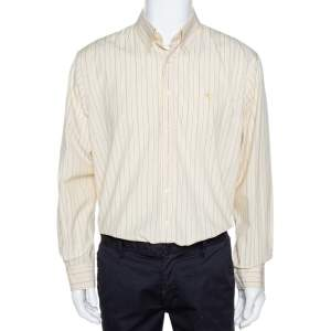 Burberry Yellow Striped Cotton Button Down Long Sleeve Shirt XL