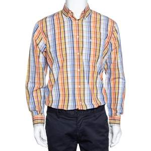 Burberry Multicolor Checked Cotton Button Down Long Sleeve Shirt S