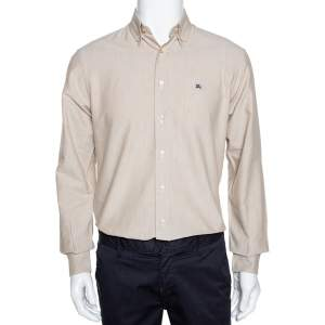 Burberry Beige Chambray Cotton Button Down Long Sleeve Shirt S