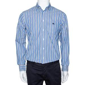 Burberry Blue Striped Cotton Button Down Long Sleeve Shirt S