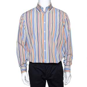 Burberry Multicolor Striped Cotton Button Down Long Sleeve Shirt M