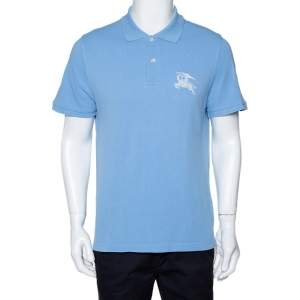 Burberry Blue Logo Embroidered Cotton Pique Polo T-Shirt XL