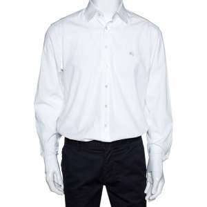 Burberry Brit White Stretch Cotton Long Sleeve Button Front Shirt L