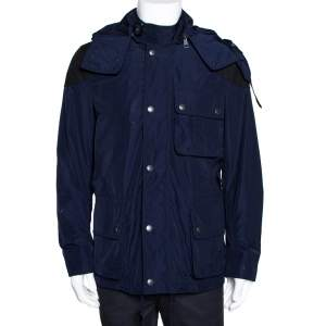 Burberry Brit Navy Blue Zip Front Hooded Jacket M