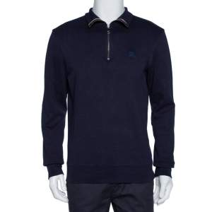 Burberry Brit Navy Blue Cotton Admiral Half Zip Pullover M