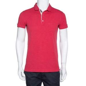 Burberry Brit Pale Coral Red Cotton Knit Polo T Shirt S
