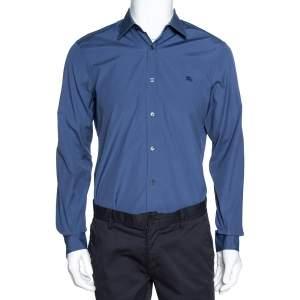 Burberry Brit Aegean Blue Stretch Cotton Button Front Shirt M