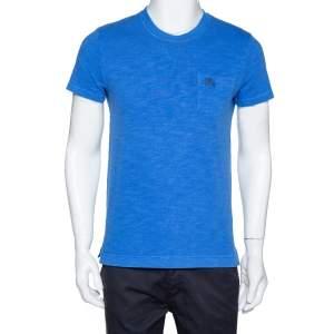 Burberry Brit Blue Cotton Knit Logo Hardware Detail T Shirt S