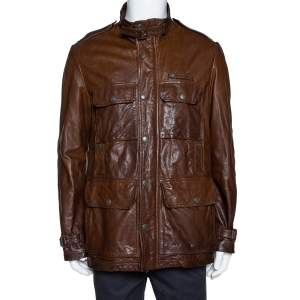 Burberry Brown Leather Button Front Jacket L