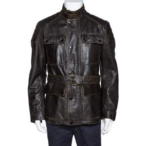 Burberry Brit Brown Leather Belted Jacket L
