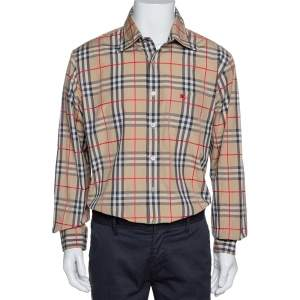 Burberry Beige Nova Check Cotton Button Down Shirt XL