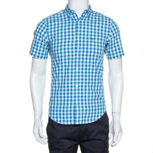 Burberry Blue Gingham Check Cotton Short Sleeve Shirt S