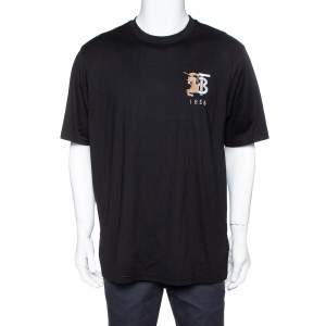 Burberry Black Cotton TB Logo Embroidered Crew Neck T-Shirt L