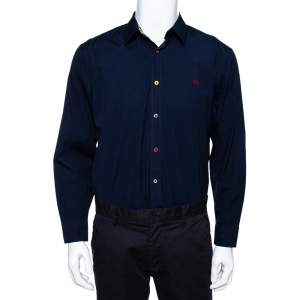Burberry Navy Blue Cotton Multi Button Long Sleeve Shirt XL