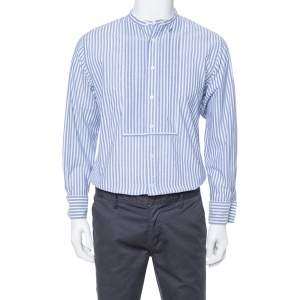 Burberry Blue Striped Cotton Pleat Front Benfleet Double Cuff Shirt L