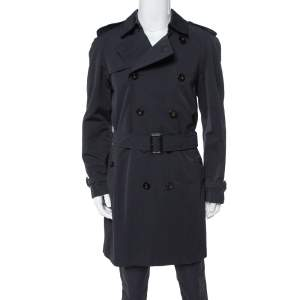 Burberry Black Novacheck Lined Double Breasted Trench Coat L
