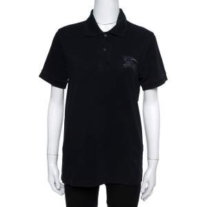Burberry Black Cotton Embroidered Logo Slim Fit Polo T-Shirt S