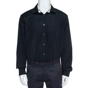 Burberry Brit Black Stretch Cotton Poplin Long Sleeve Shirt XXXL