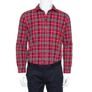 Burberry Brit Red Checked Cotton Full Sleeve Button Down Shirt L