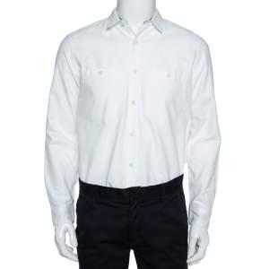 Burberry White Cotton Oxford Contrast Check Trim Button Front Shirt M