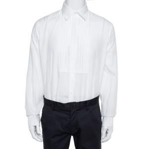 Burberry  White Cotton Jaden Double-Cuff Pleated-Bib Shirt XL