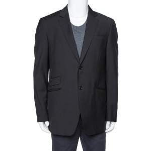 Burberry Black Wool & Silk Tailored Jacket XL