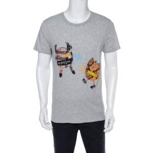 Burberry Grey Melange Cotton Creature Motif Embellished T-Shirt M