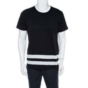 Burberry Black Cotton Striped Panel Radley T-Shirt L