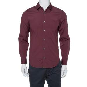 Burberry Brit Burgundy Cotton Long Sleeve Shirt S