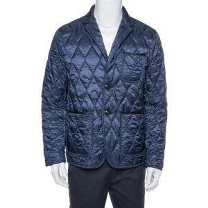 Burberry Brit Navy Blue Leather Trim Detail Quilted Jacket M