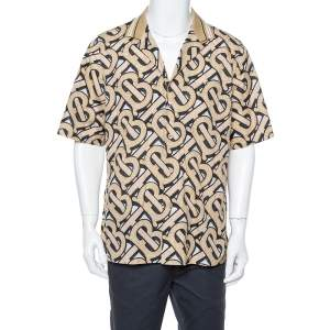 Burberry Brown TB Logo Monogram Cotton & Knit Collar Detail Bowling Shirt L