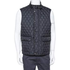 Burberry Brit Black Quilted Sleeveless Haymarket Vest L