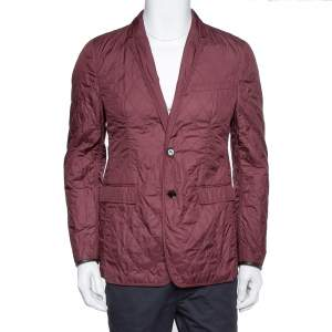 Burberry Burgundy Quilted Synthetic Long Jacket L
