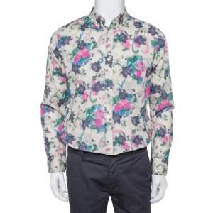Burberry Multicolor Watercolor Floral Printed Cotton Button Front Shirt L
