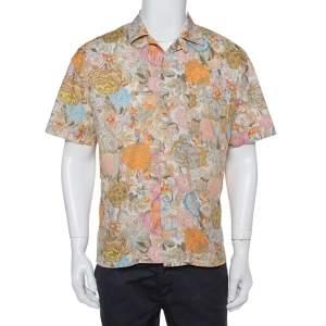 Burberry Multicolor Floral Printed Cotton Bowling Shirt L